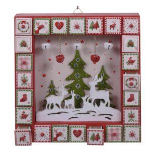drevený adventný kalendár, adventný kalendár s drevenými suflíckami, suflíckový adventny kalendar