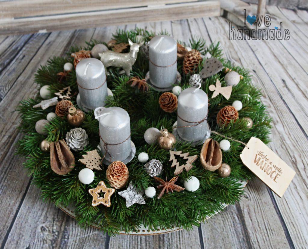 vianočný veniec, adventný veniec, vianočná dekorácia, handmade vianočná dekorácie, prírodný vianočný veniec, prírodné vianočné dekorácie