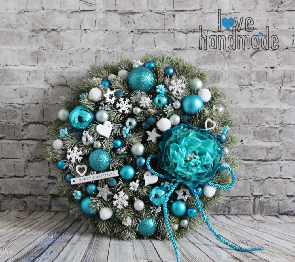 vianočný veniec, adventný veniec, vianočná dekorácia, handmade vianočná dekorácie, tyrkysový vianočný veniec, tyrkysové vianočné dekorácie